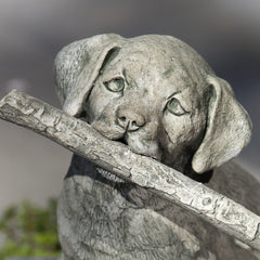 Proud Pup with Stick Cast Stone Garden Statue - Soothing Company