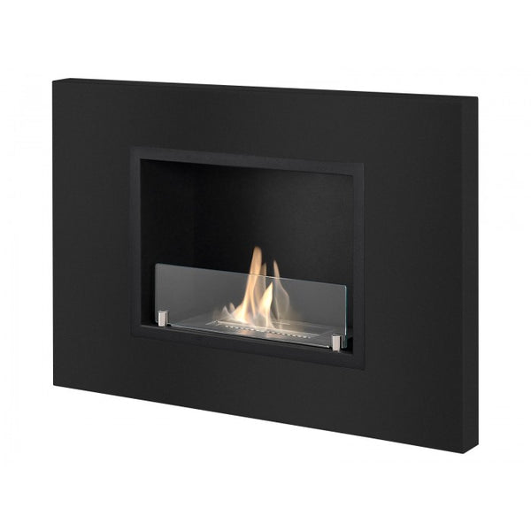Ignis Quadra Black Recessed Bio Ethanol Fireplace - Soothing Company