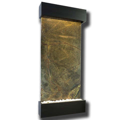 Large Nojoqui Falls Classic Quarry Rainforest Green Marble Wall Fountain in Black Onyx Frame - Soothing Company