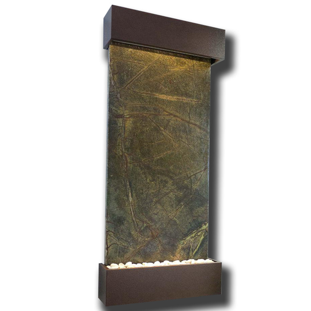 Large Nojoqui Falls Classic Quarry Rainforest Green Marble Wall Fountain in Copper Patina Frame - Soothing Company