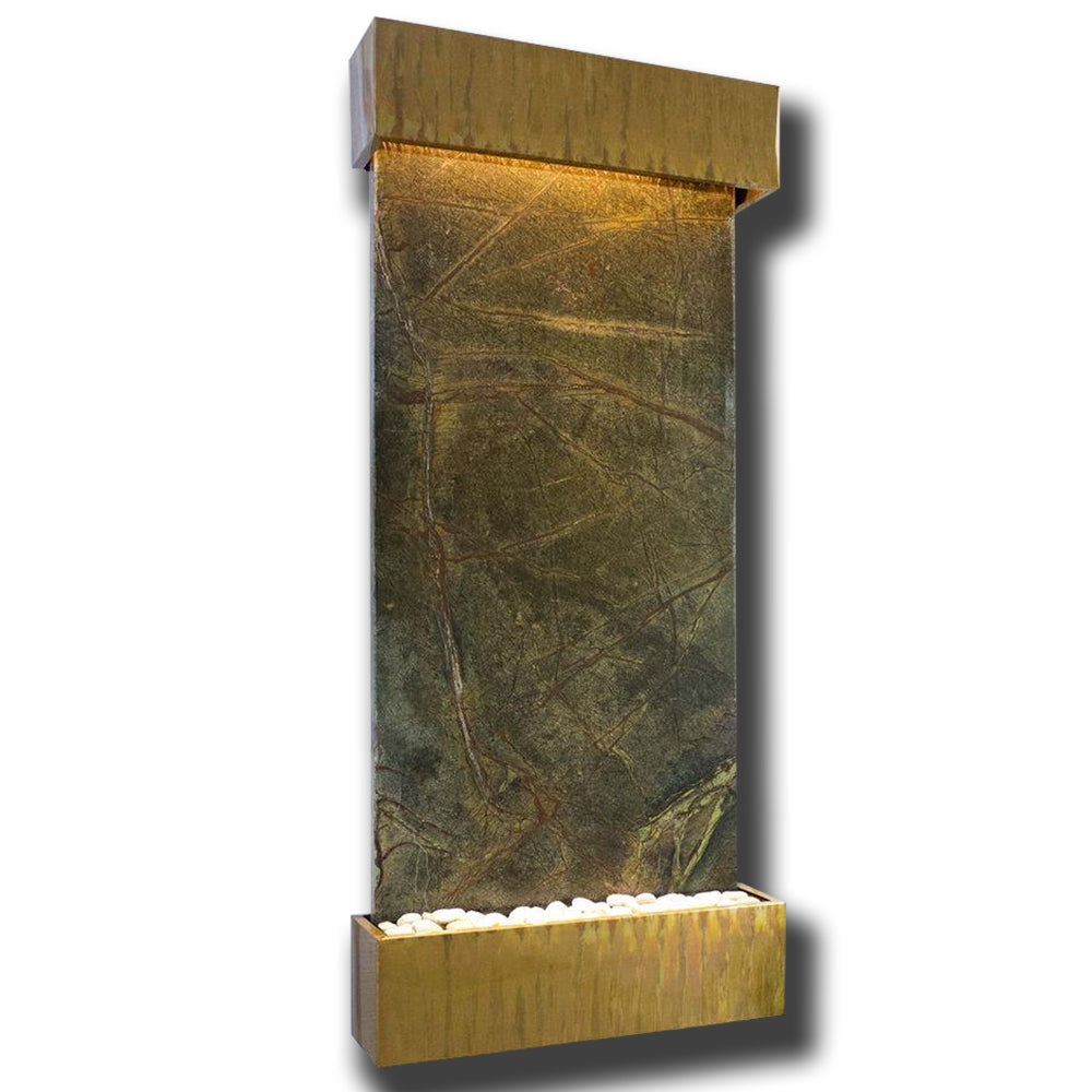 Large Nojoqui Falls Classic Quarry Rainforest Green Marble Wall Fountain in Copper Vein Frame - Soothing Company