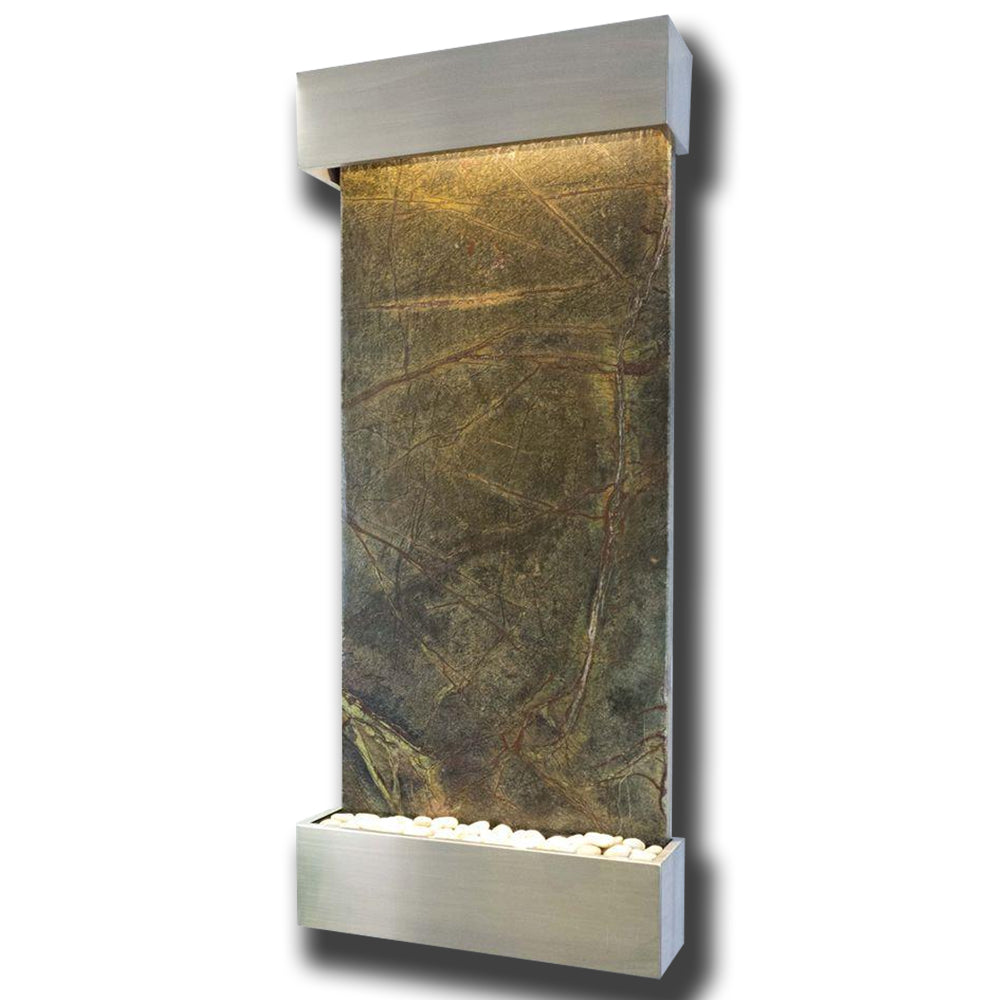 Large Nojoqui Falls Classic Quarry Rainforest Green Marble Wall Fountain in Stainless Steel Frame - Soothing Company