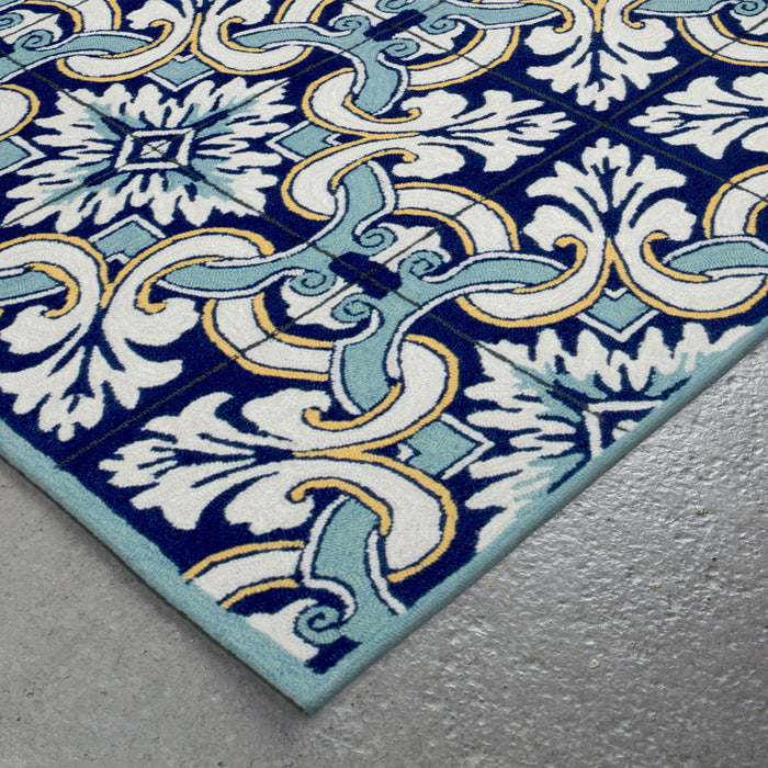 Liora Manne Ravella Floral Tile Navy Area Rug - Soothing Company