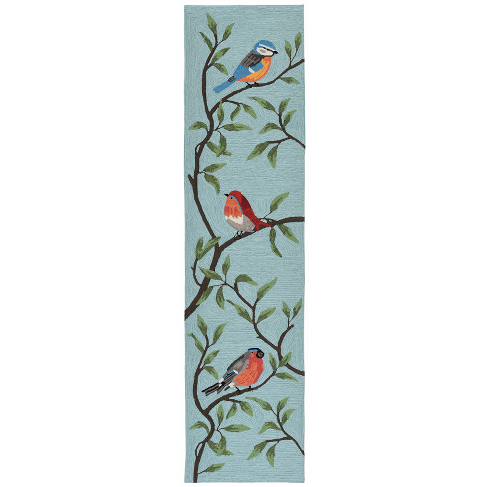 Liora Manne Ravella Birds On Branches Aqua Area Rug - Soothing Company
