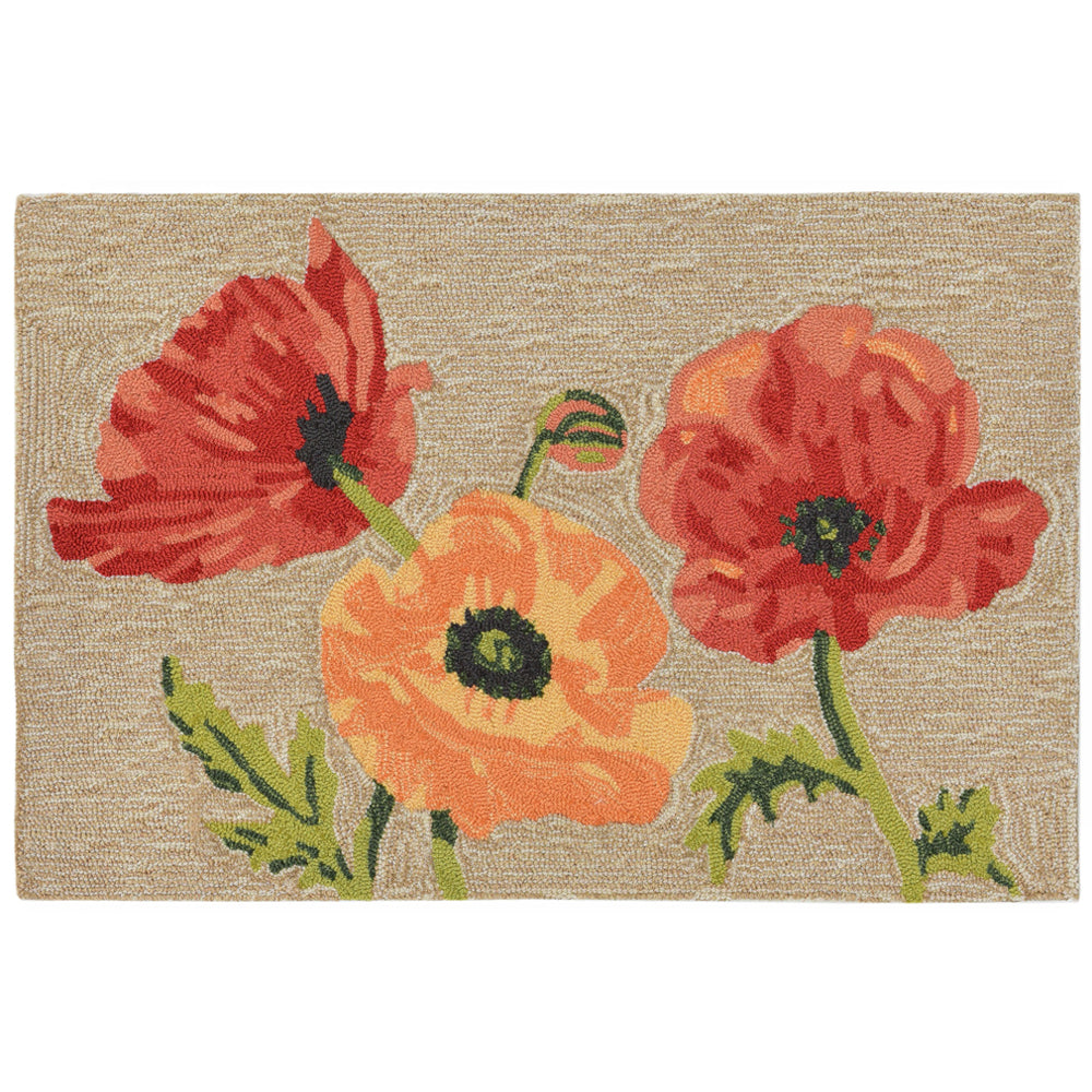 Liora Manne Ravella Icelandic Poppies Neutral Area Rug - Soothing Company