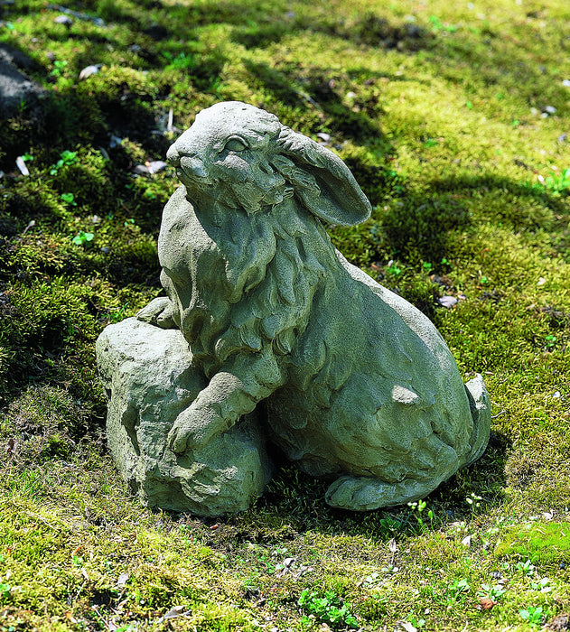Rabbit on a Rock Cast Stone Garden Statue - Soothing Company