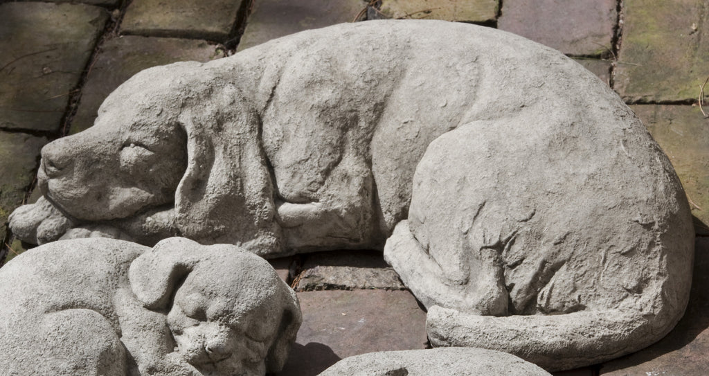 Reclining Dog Cast Stone Garden Statue - Soothing Company