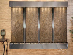 Regal Falls: Green FeatherStone and Stainless Steel Trim with Squared Corners