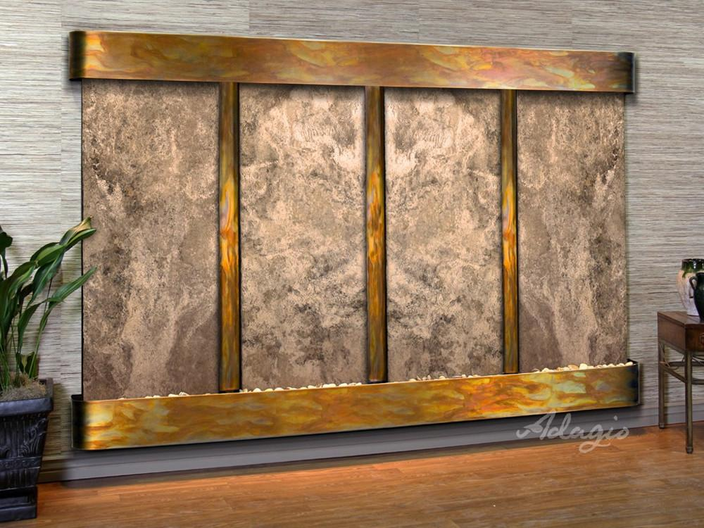 Regal Falls: Magnifico Travertine and Rustic Copper Trim with Rounded Corners