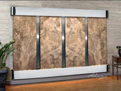 Regal Falls: Magnifico Travertine and Stainless Steel Trim with Rounded Corners