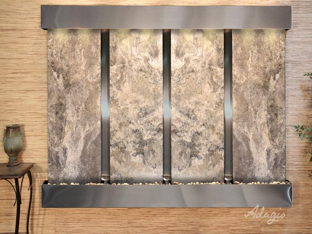 Regal Falls: Magnifico Travertine and Stainless Steel Trim with Squared Corners