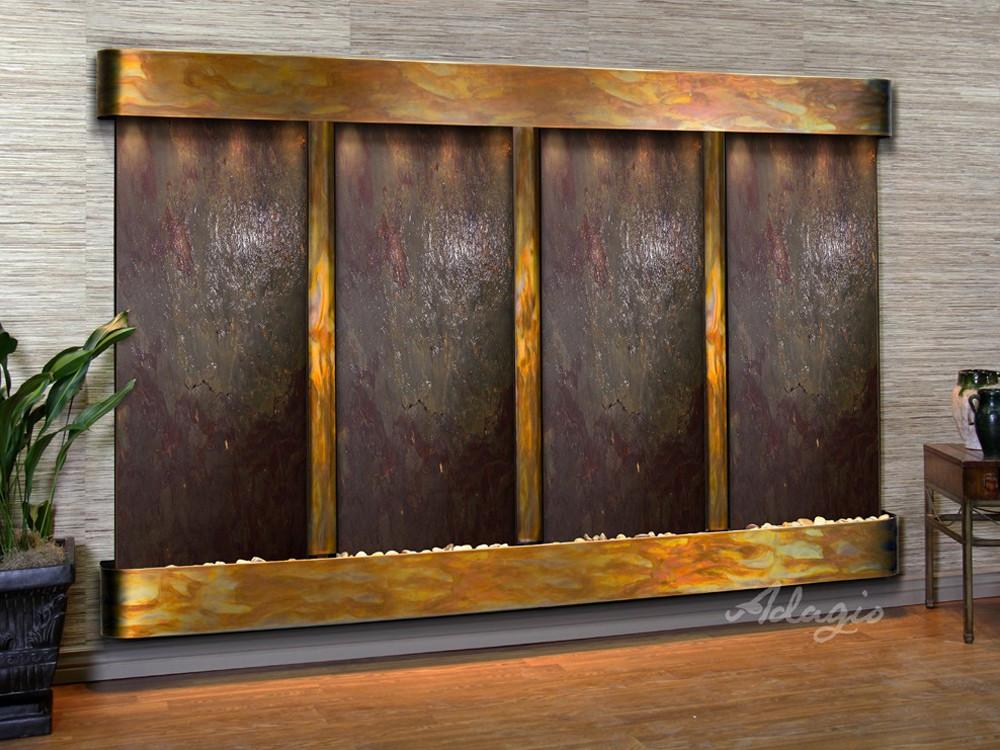 Regal Falls: Multi-Color FeatherStone and Rustic Copper Trim with Rounded Corners