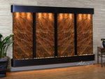 Regal Falls: Rainforest Brown Marble and Blackened Copper Trim with Rounded Corners