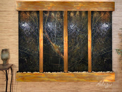 Regal Falls: Rainforest Green Marble and Rustic Copper Trim with Squared Corners