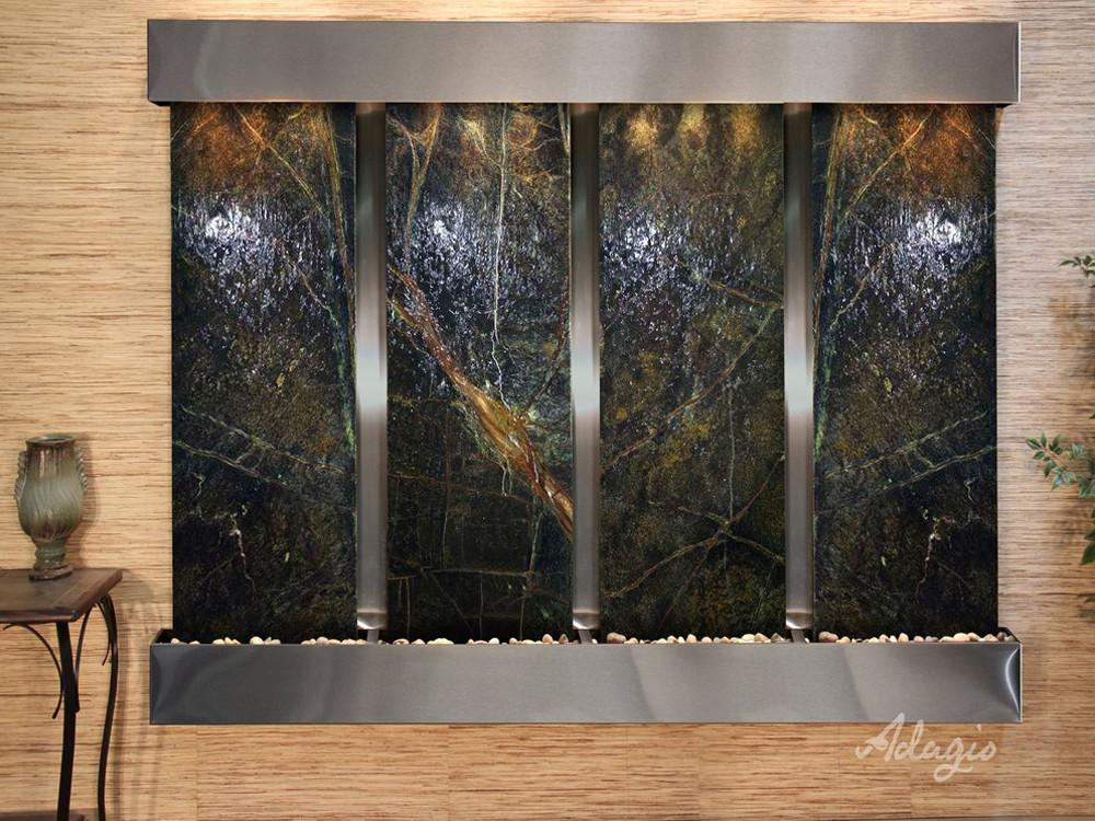 Regal Falls: Rainforest Green Marble and Stainless Steel Trim with Squared Corners