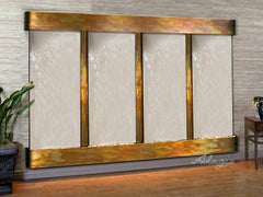 Regal Falls: Silver Mirror and Rustic Copper Trim with Rounded Corners