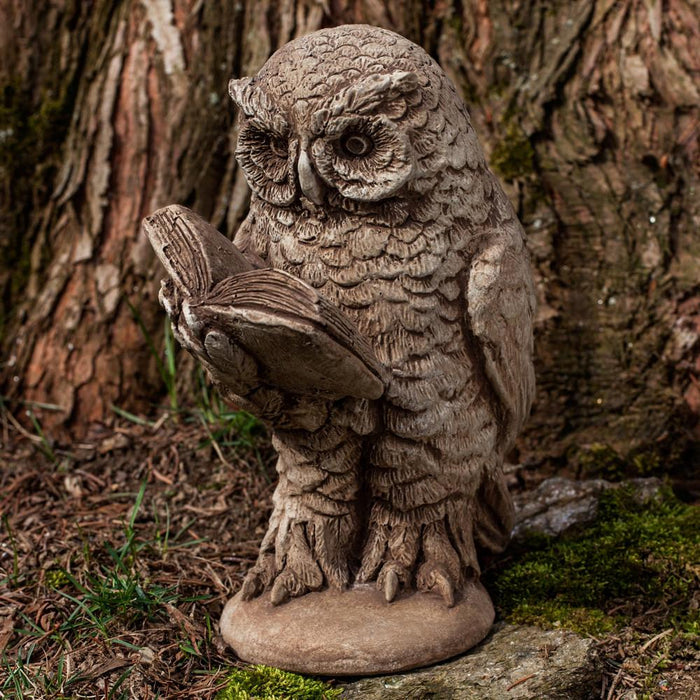 Scholarly Owl Cast Stone Garden Statue - Soothing Company