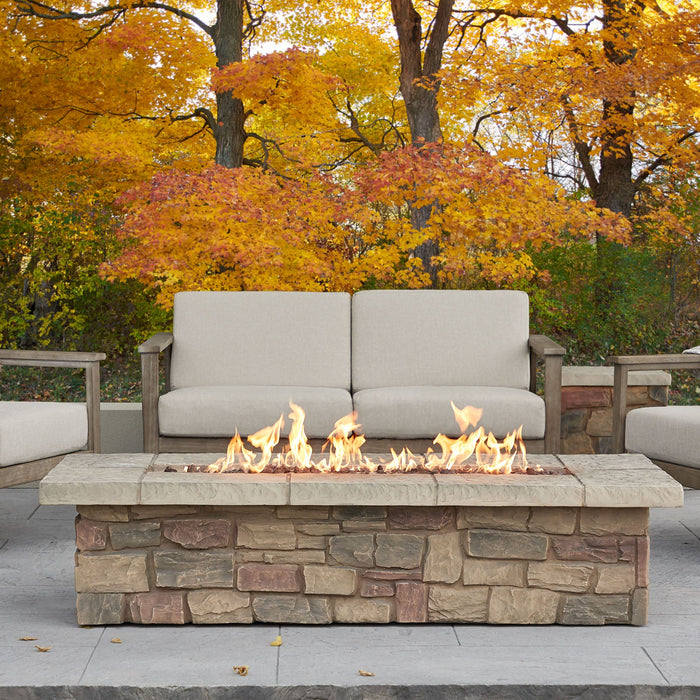 "Sedona 66"" Rectangle Propane Fire Table with NG Conversion Kit"