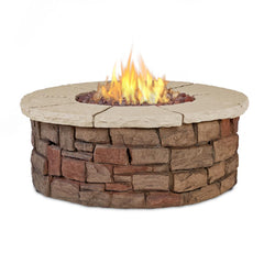 Sedona Round Propane Fire Table in Buff with NG Conversion Kit - Soothing Company