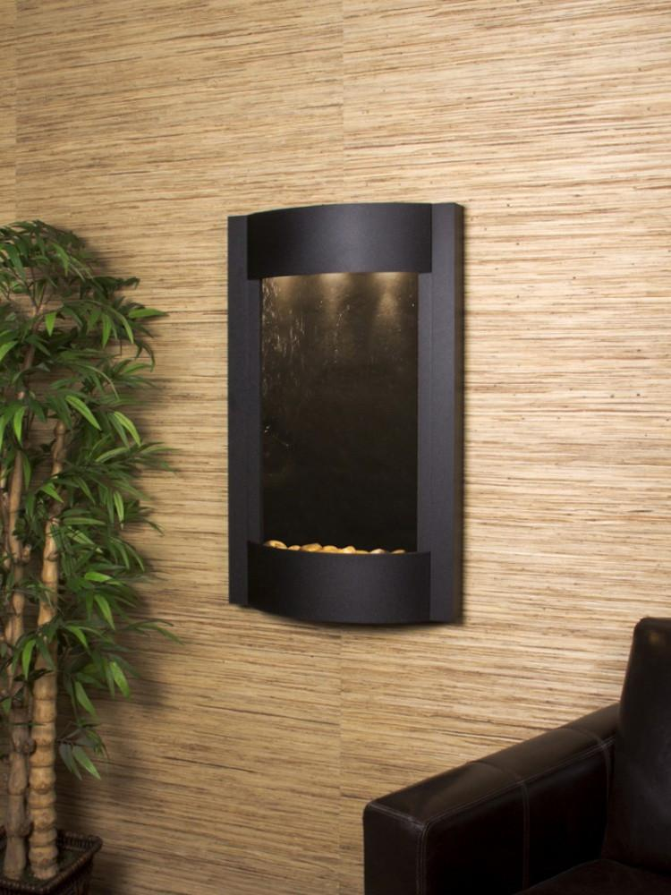 Serene Waters: Black FeatherStone with Textured Black Trim