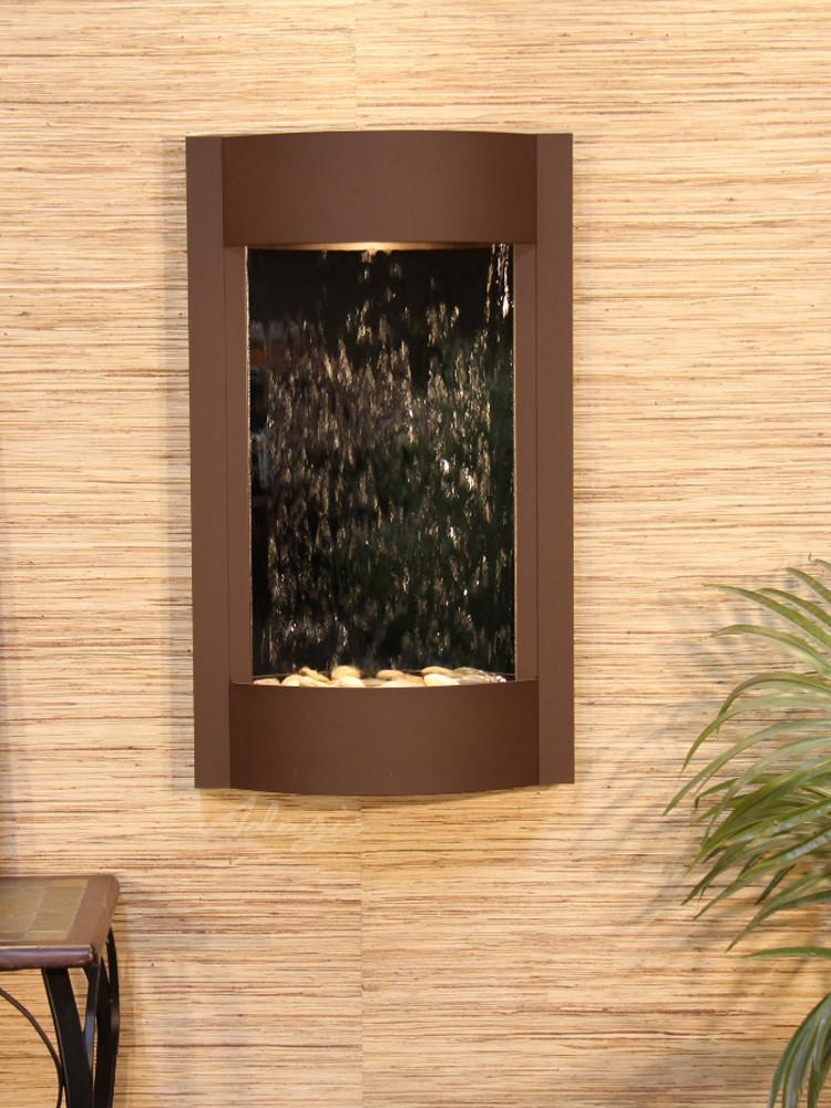 Serene Waters: Silver Mirror with Woodland Brown Trim