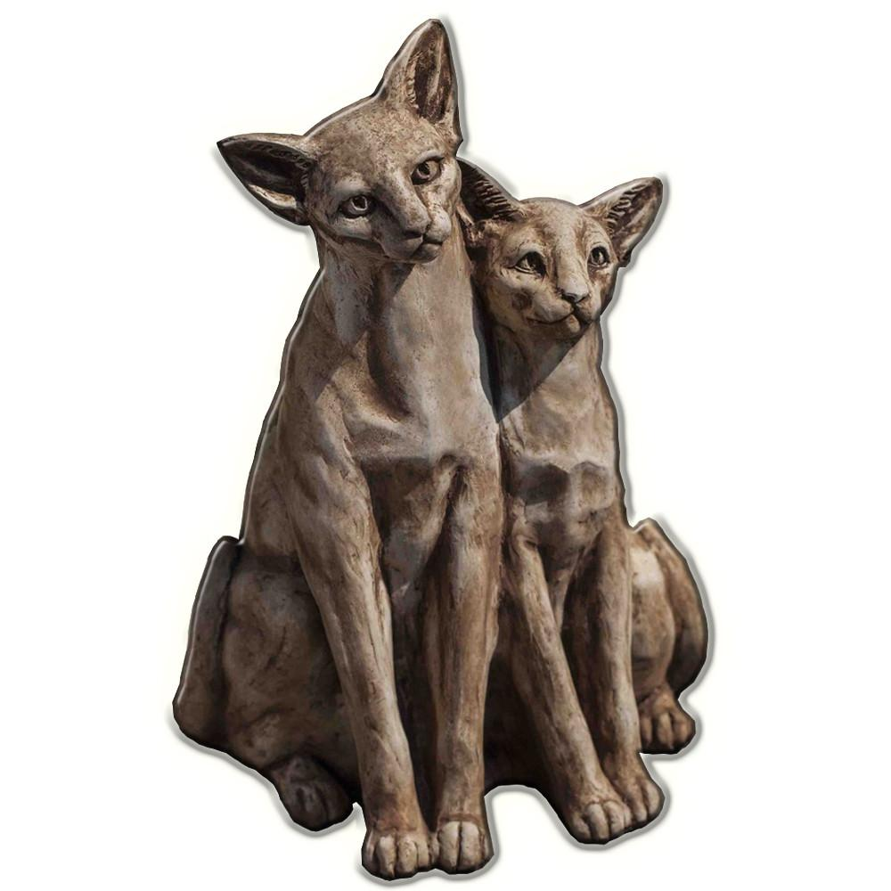 Siamese Cats Cast Stone Garden Statue - Soothing Company