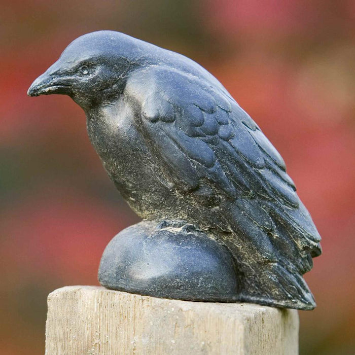 Small Raven Cast Stone Garden Statue - Soothing Company
