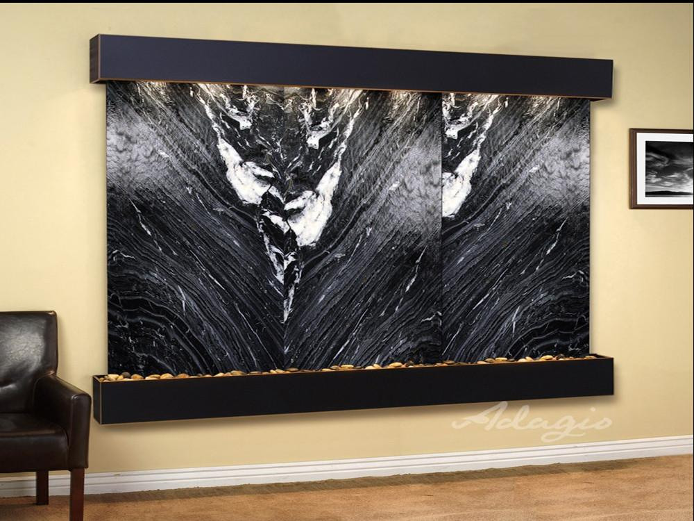 Solitude River : Black Spider Marble and Blackened Copper Trim with Squared Corners
