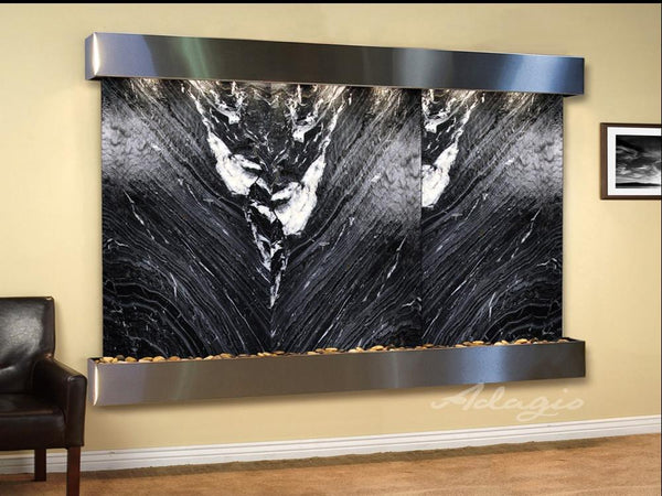 Solitude River: Black Spider Marble and Stainless Steel Trim with Squared Corners