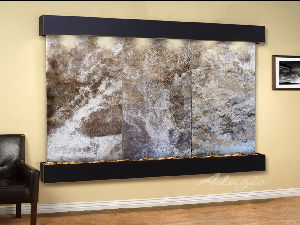Solitude River: Magnifico Travertine and Blackened Copper Trim with Squared Corners