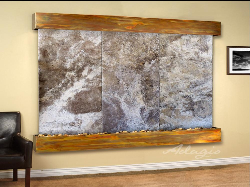 Solitude River: Magnifico Travertine and Rustic Copper Trim with Squared Corners