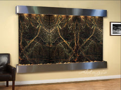 Solitude River: Rainforest Green Marble and Stainless Steel Trim with Squared Corners