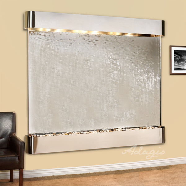 Solitude River Three Panel Mirror Wall Fountain - Soothing Company
