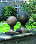 Sphere Square Base Cast Stone Garden Statue - Soothing Company