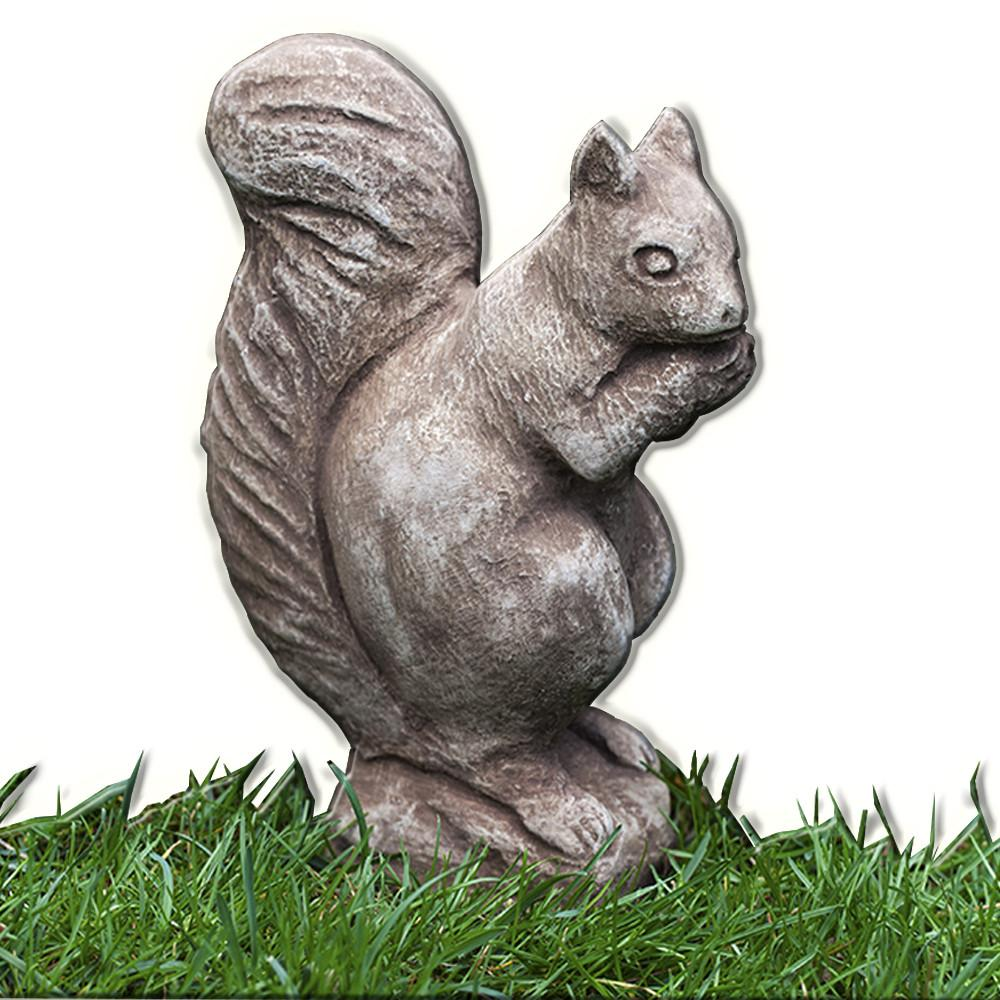Standing Squirrel Cast Stone Garden Statue   Soothing Company