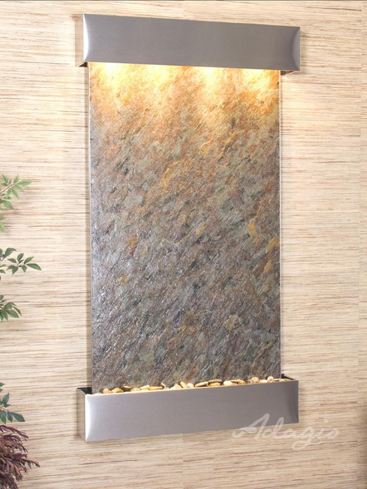 Summit Falls: Green FeatherStone and Stainless Steel Trim with Squared Corners