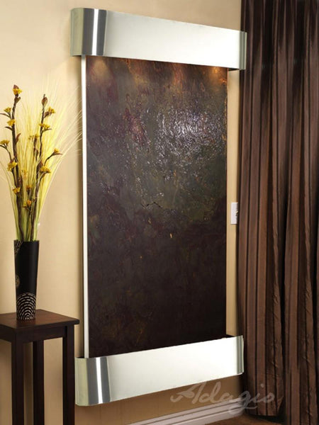 Summit Falls: Multi-Color FeatherStone and Stainless Steel Trim with Rounded Corners