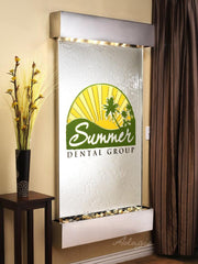 Summit Falls: Silver Mirror and Stainless Steel Trim with Squared Corners