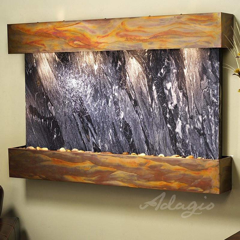 Sunrise Springs - Black Spider Marble - Rustic Copper - Squared Corners - Soothing Walls