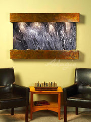 Sunrise Springs: Black Spider Marble and Rustic Copper Trim with Squared Corners