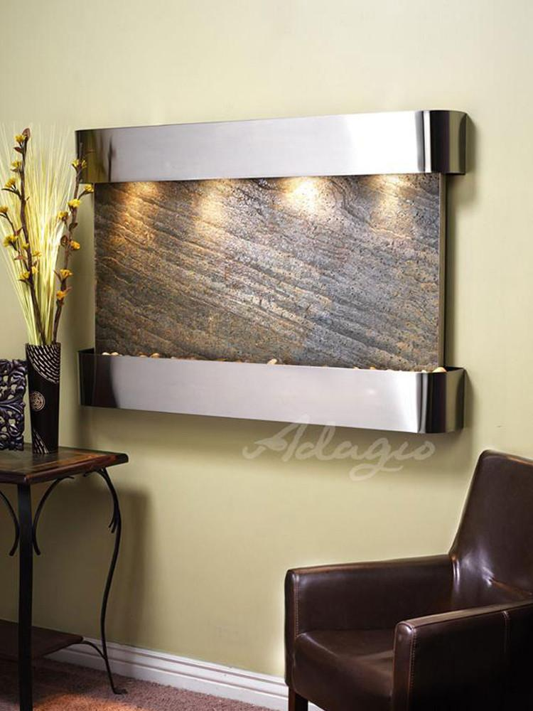 Sunrise Springs: Green FeatherStone and Stainless Steel  Trim with Rounded Corners