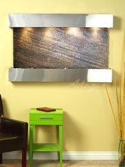 Sunrise Springs: Green FeatherStone and Stainless Steel Trim with Squared Corners