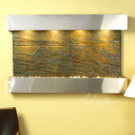 Sunrise Springs: Green Slate and Stainless Steel Trim with Squared Corners