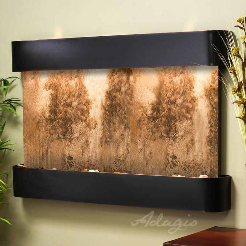 Sunrise Springs: Magnifico Travertine and Blackened Copper Trim with Rounded Corners