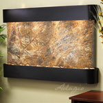 Sunrise Springs: Rainforest Brown Marble and Blackened Copper Trim with Rounded Corners