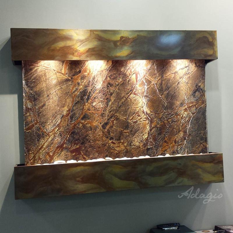 Sunrise Springs: Rainforest Brown Marble and Rustic Copper Trim with Squared Corners