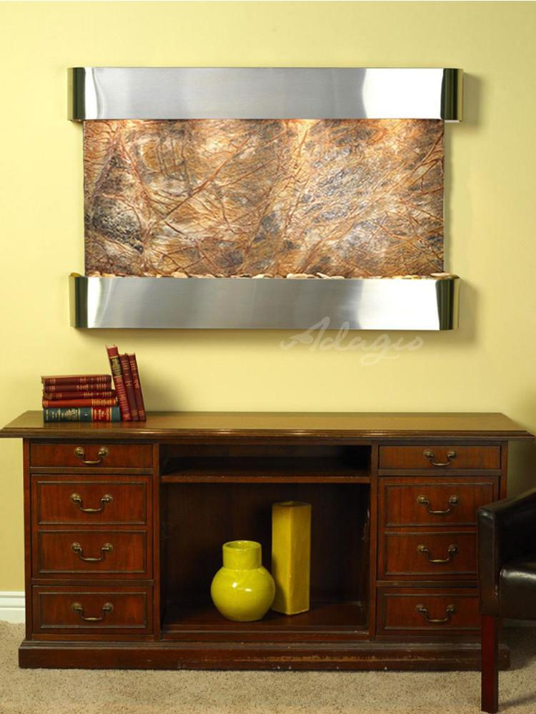 Sunrise Springs: Rainforest Brown Marble and Stainless Steel Trim with Rounded Corners