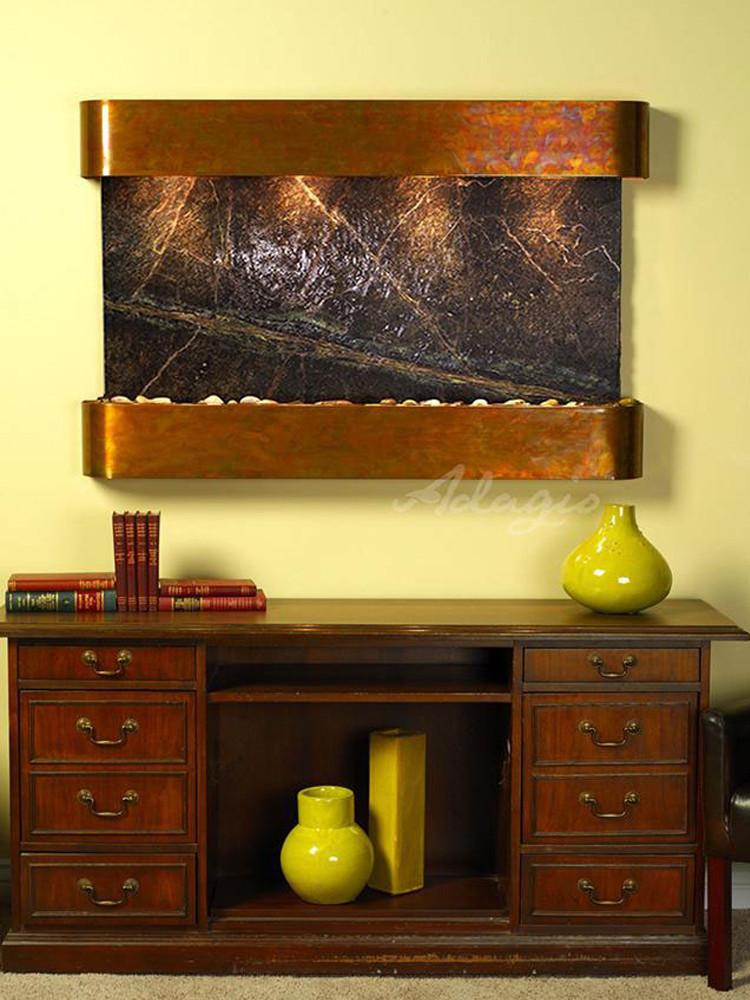 Sunrise Springs: Rainforest Green Marble and Rustic Copper Trim with Rounded Corners