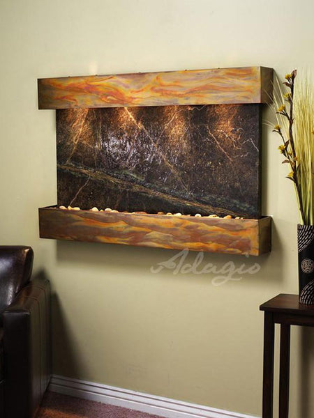 Sunrise Springs: Rainforest Green Marble and Rustic Copper Trim with Squared Corners