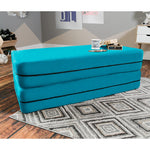 Kids Zipline Convertible Sofa & Large Ottoman in Teal - Soothing Company